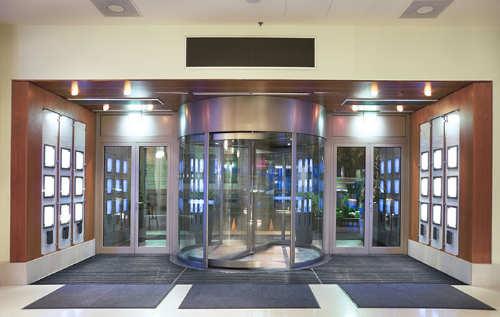 revolving doors are great complement to enhance the beauty of your business