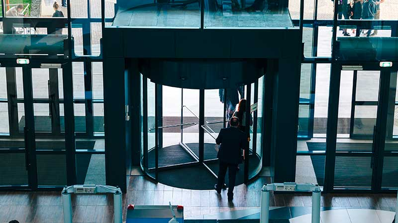 Revolving doors are perfect for office buildings.