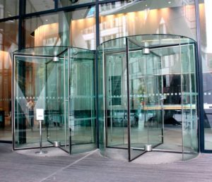 Modern Building Entrance with Revolving Doors
